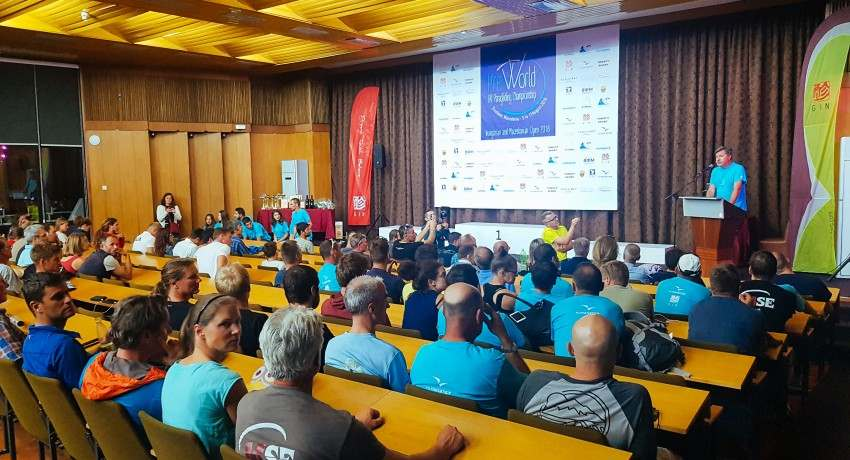 Paragliders briefing in our congress hall in Hotel Montana